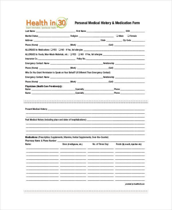 Personal Medical History Template Sample Medical form