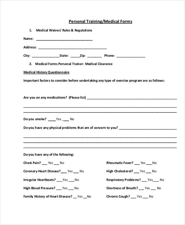 Personal Medical History Template Sample Medical forms 9 Examples In Word Pdf