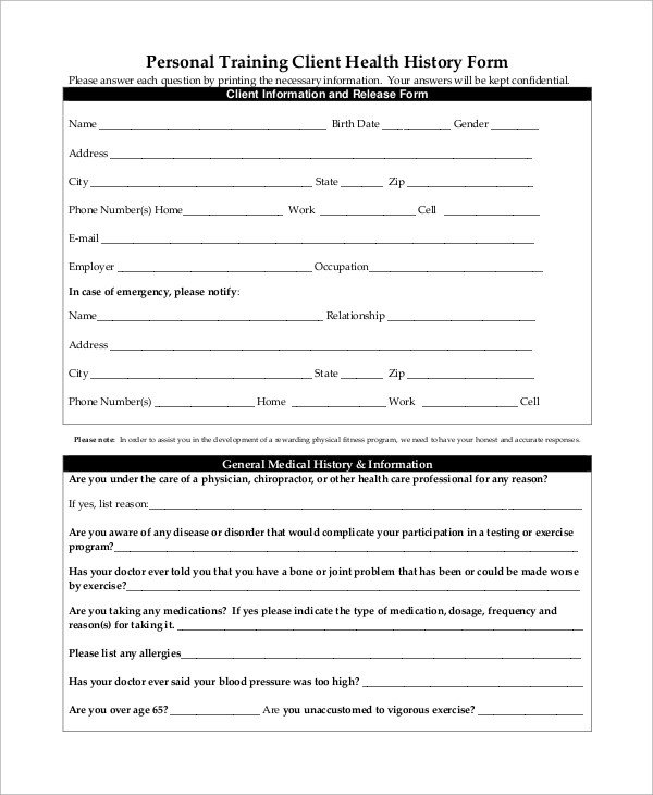Personal Medical History Template Sample Medical History form 10 Examples In Word Pdf