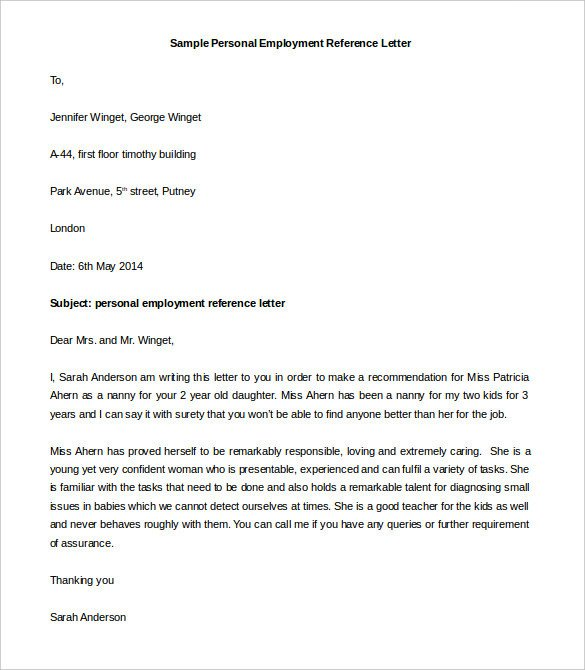 Personal Recommendation Letter Template 44 Personal Letter Templates Pdf Doc