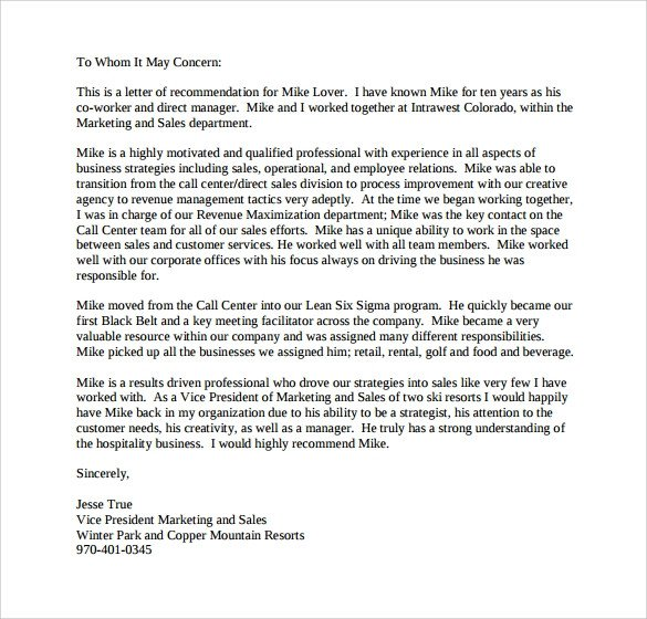 Personal Recommendation Letter Template Sample Personal Letter Of Re Mendation 16 Download