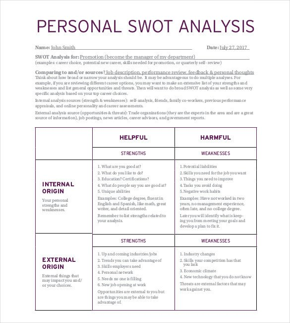 Personal Swot Analysis Examples Personal Swot Analysis Template 15 Examples In Pdf