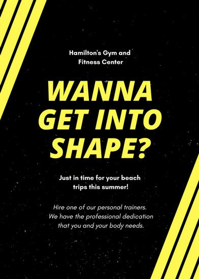 Personal Trainer Flyer Template Black and Yellow Lines Personal Trainer Flyer Templates