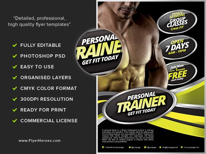 Personal Trainer Flyer Template Personal Fitness Flyer Template Flyerheroes