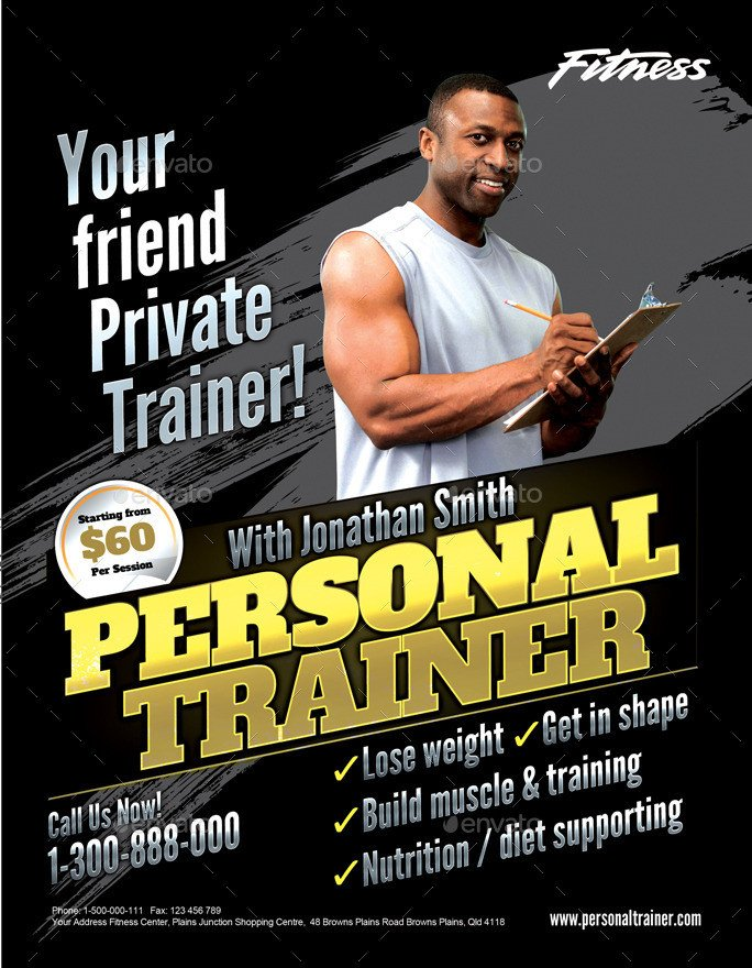 Personal Trainer Flyer Template Personal Trainer Flyer by Inddesigner