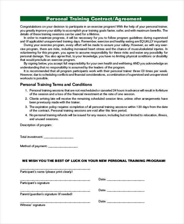 Personal Training Contracts Template Personal Agreement form Samples 9 Free Documents In Pdf