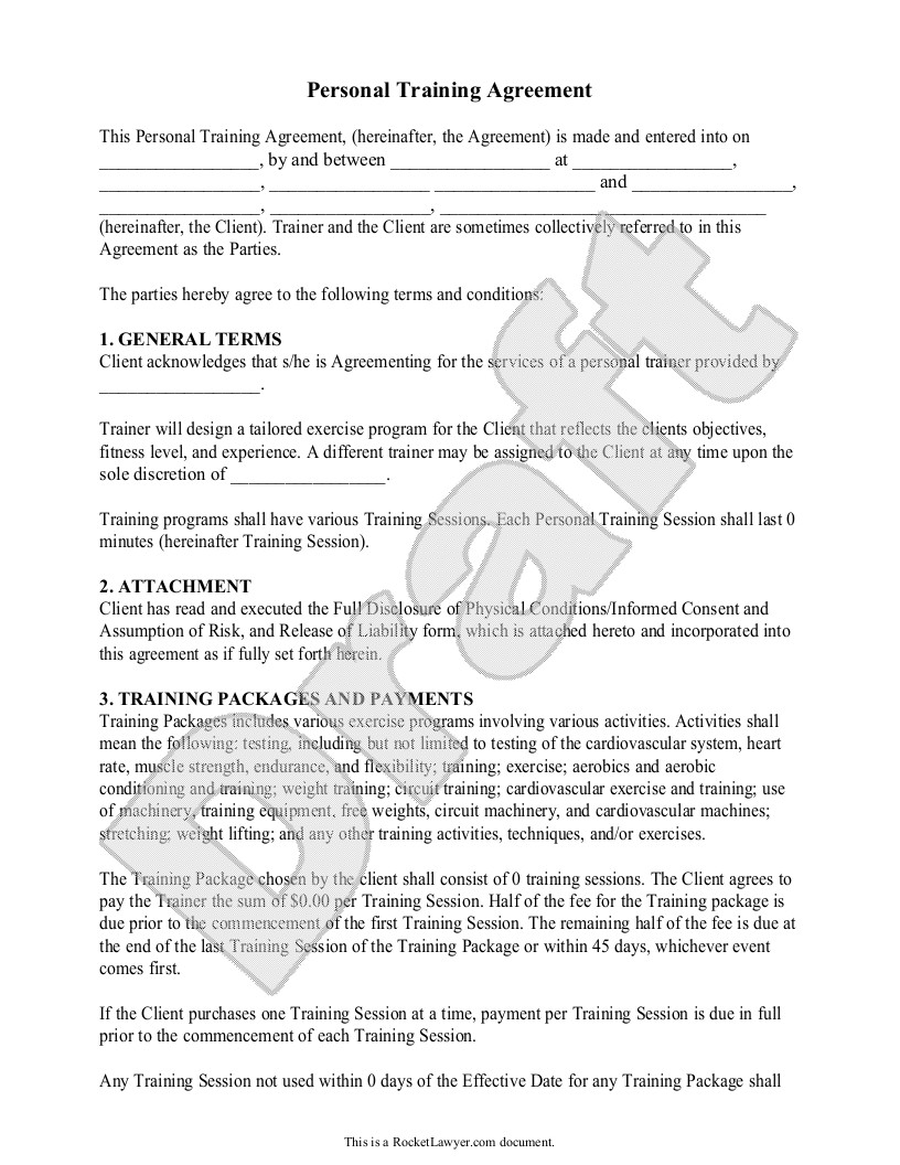 Personal Training Contracts Template Personal Trainer forms Personal Training Contract