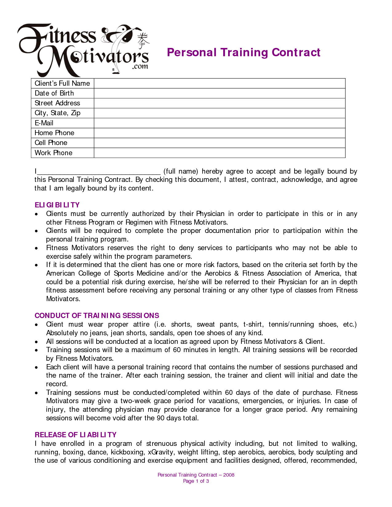 Personal Training Contracts Template Personal Training Agreement Free Printable Documents