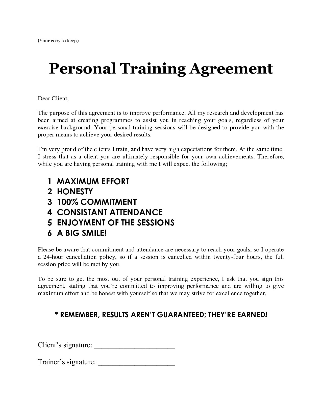 Personal Training Contracts Template Personal Training Contract Free Printable Documents