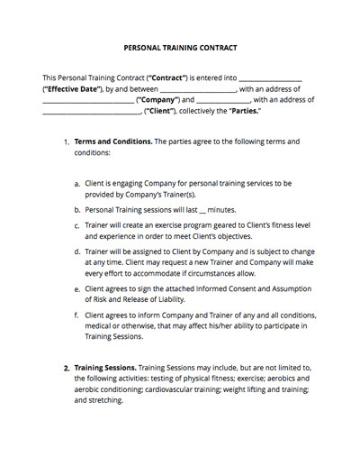 Personal Training Contracts Template Personal Training Contract Free Sample Docsketch