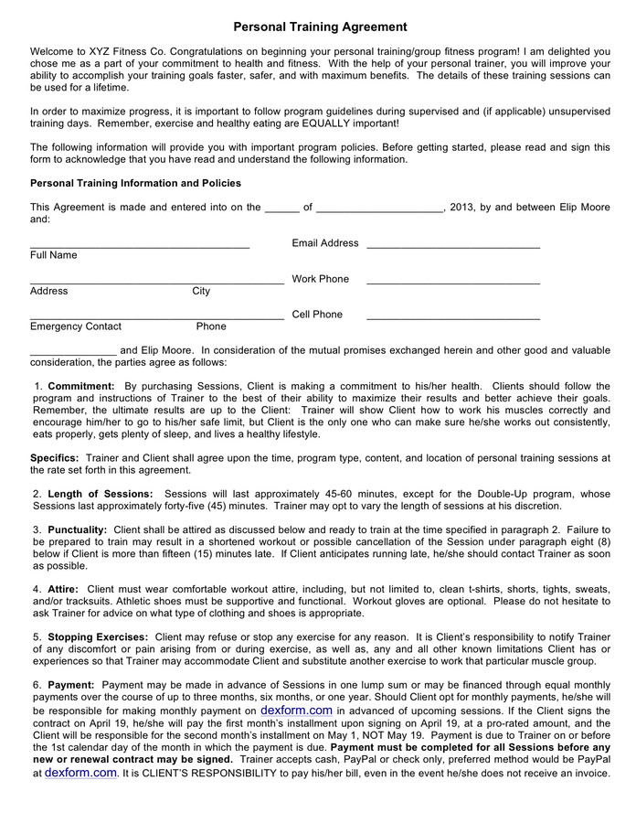 Personal Training Contracts Template Personal Training Contract Sample Free