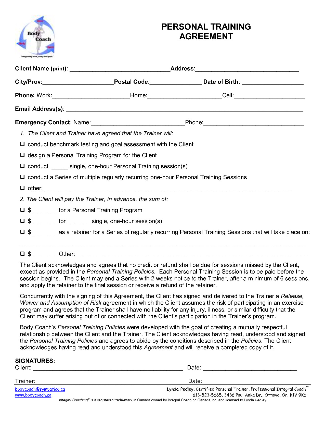 Personal Training Contracts Template Personal Training Contract Template Free Printable Documents