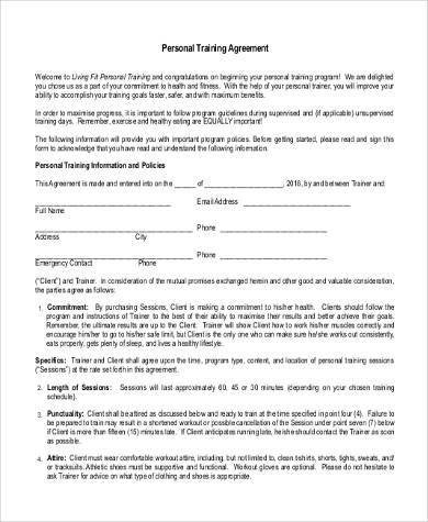 Personal Training Contracts Template Sample Training Agreement forms 10 Free Documents In
