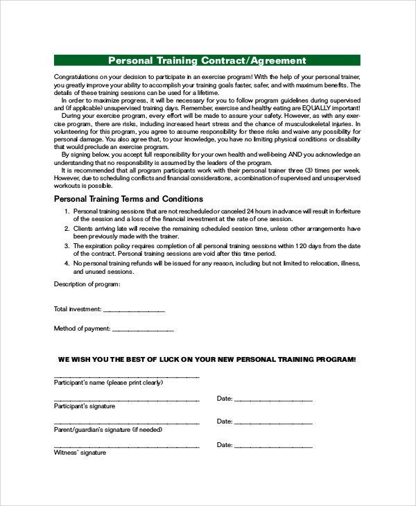 Personal Training Contracts Template Training Agreement Contract Sample 13 Examples In Word