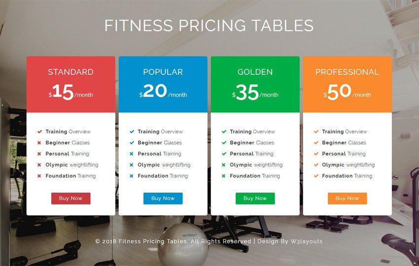 Personal Training Pricing Template Church A Religious Category Flat Bootstrap Responsive Web