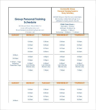 Personal Training Pricing Template Personal Schedule Template 9 Free Word Pdf Documents