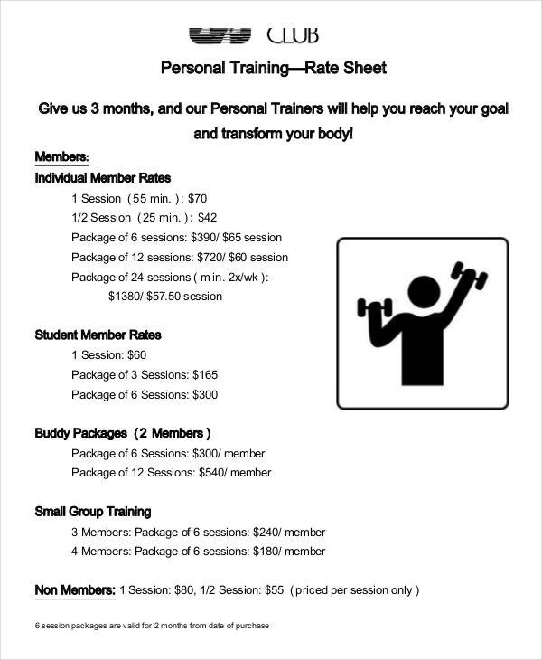 Personal Training Pricing Template Rate Sheet Template 10 Free Sample Example format