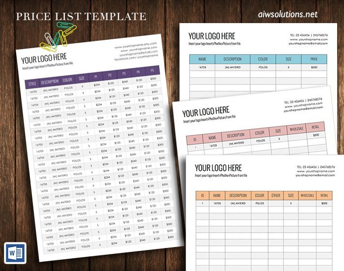 Personal Training Pricing Template wholesale Price Sheet Stationery Templates Creative Market