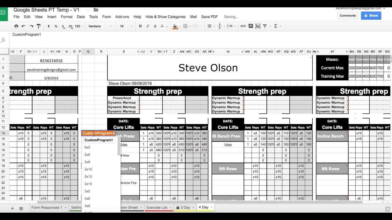 Personal Training Templates Free 1 Save to Pdf with Google Sheets Personal Training