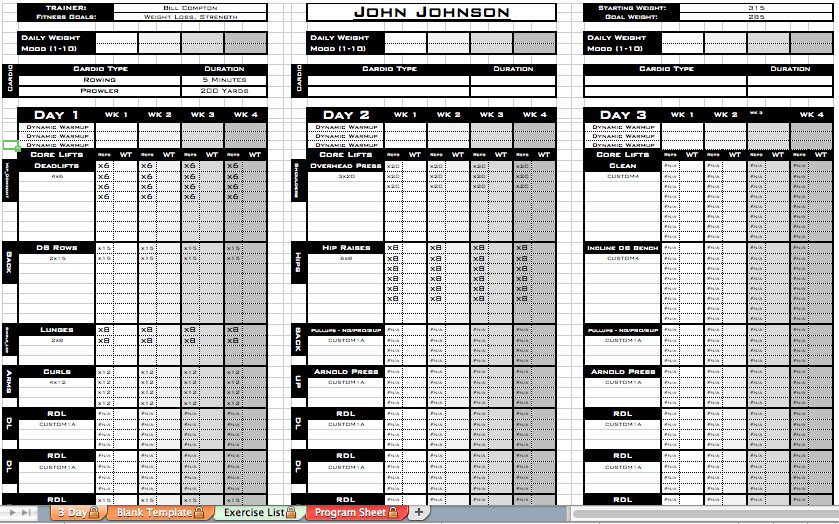 Personal Training Templates Free Excel Personal Training Templates Excel Training Designs