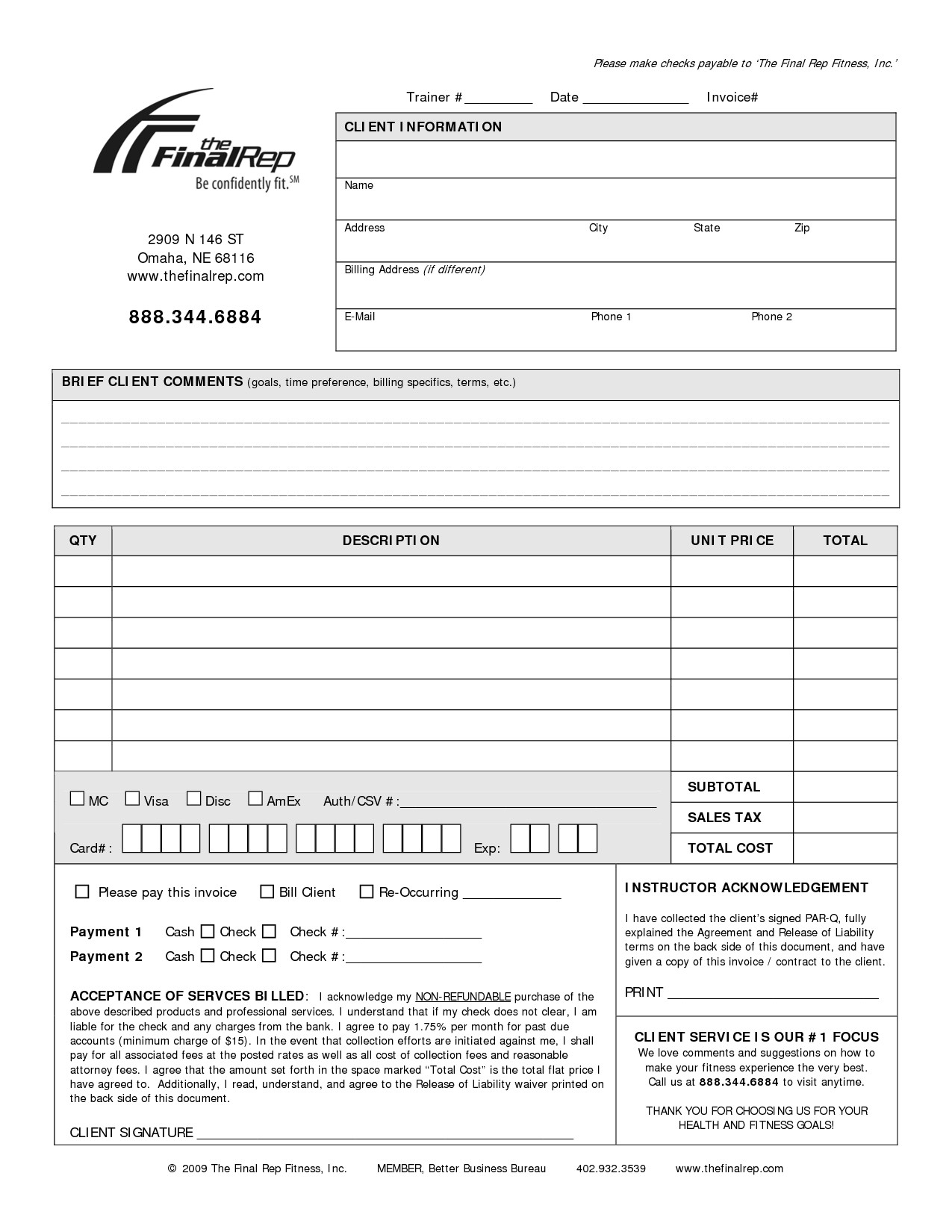Personal Training Templates Free Personal Invoice Template