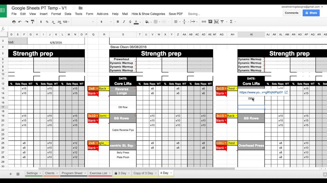 Personal Training Templates Free Setting Up Your Google Sheets Personal Training Template