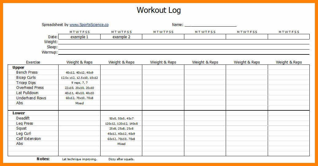 Personal Training Templates Free Workouts Log Templates Printable In Pdf Excel Template