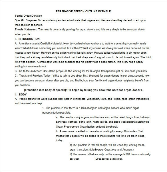Persuasive Speech Outline Examples 4 Persuasive Speech Outline Templates Pdf Doc