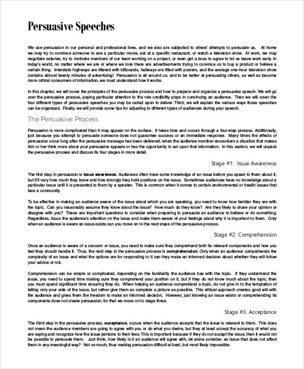 Persuasive Speech Outline Examples Persuasive Speech Example and Templates 8 Samples In