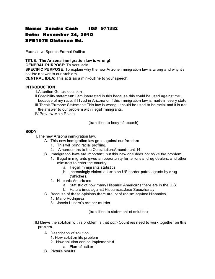 Persuasive Speech Outline Examples Persuasive Speech formal Outline