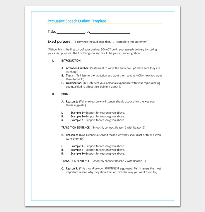 Persuasive Speech Outline Examples Persuasive Speech Outline Template 15 Examples Samples