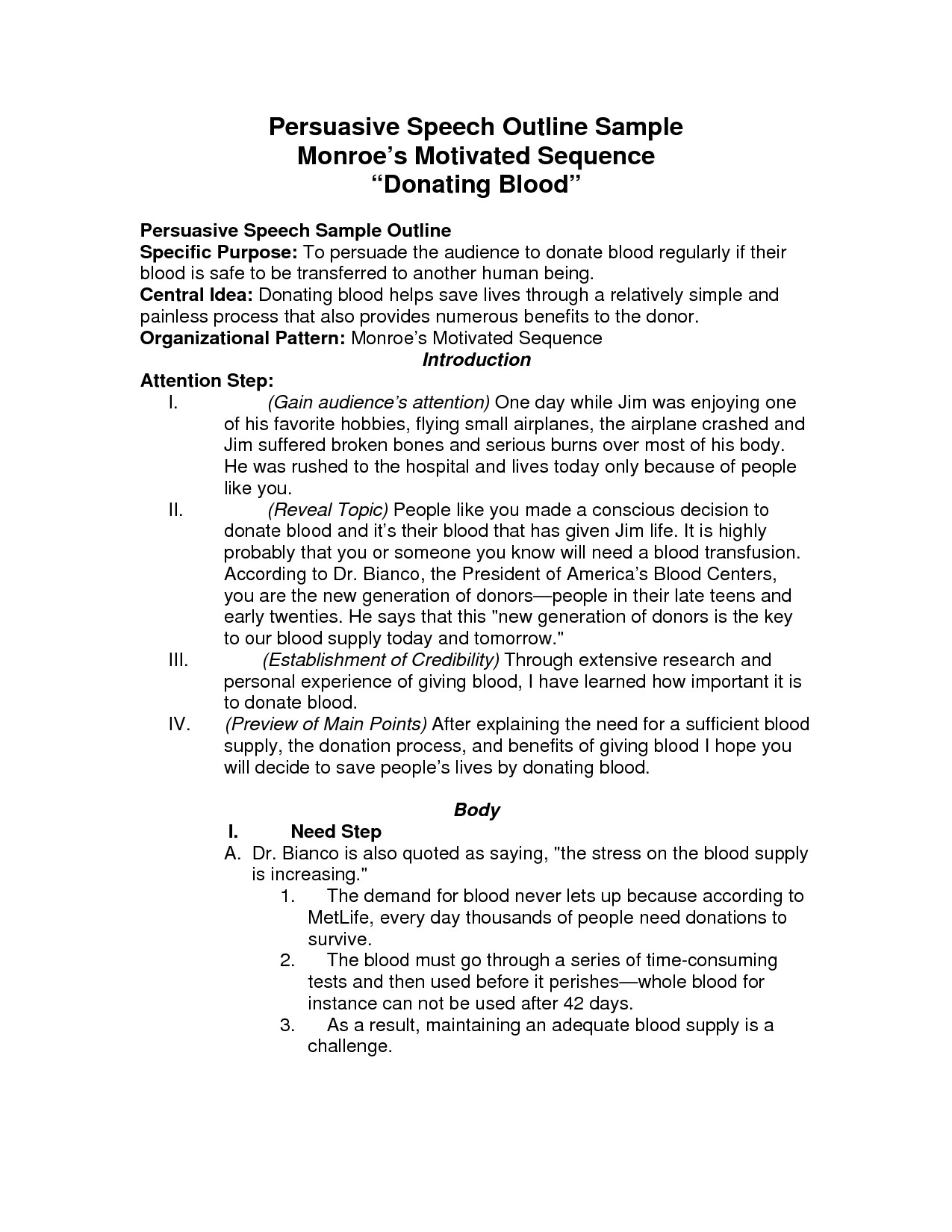 Persuasive Speech Outline Examples Persuasive Speech Outline Template