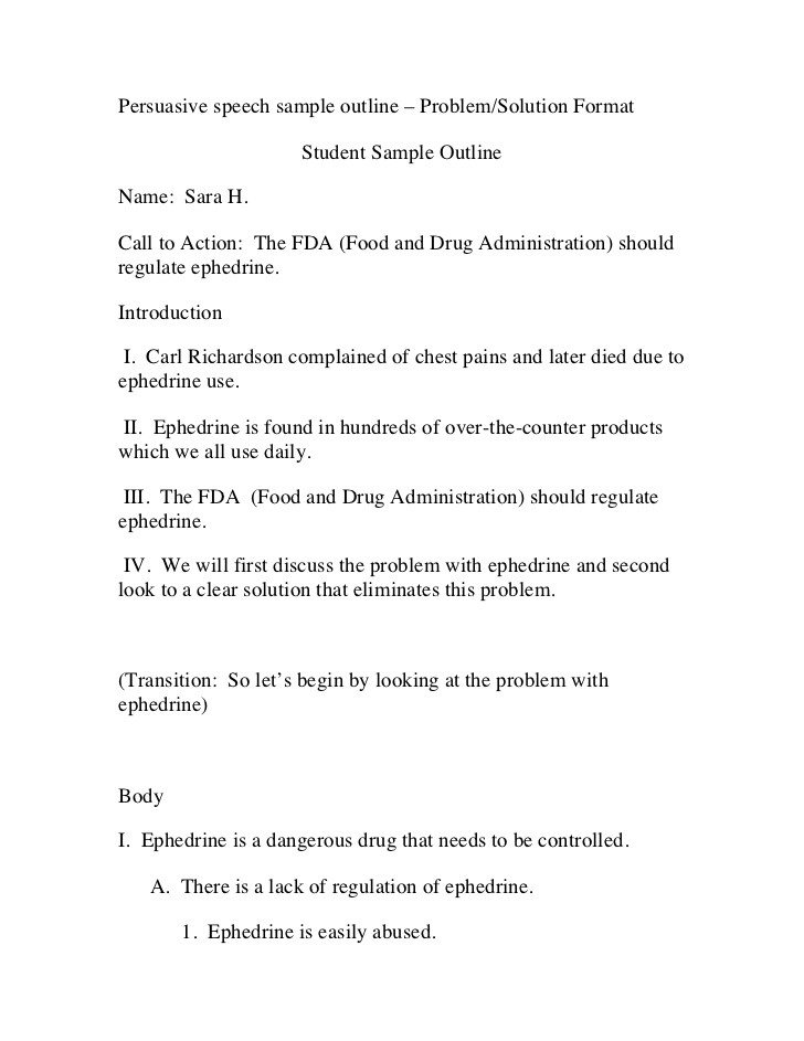 Persuasive Speech Outline Examples Persuasive Speech Sample Outline – Problem