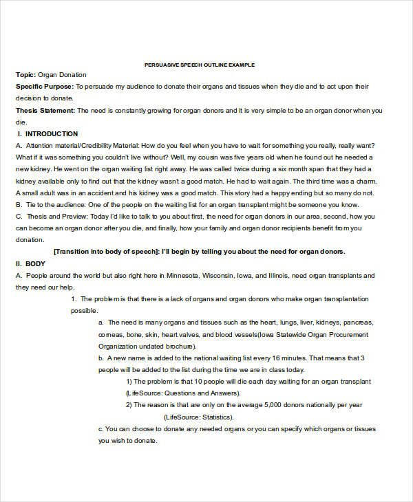 Persuasive Speech Outline Templates 6 Speech Outline Examples Samples