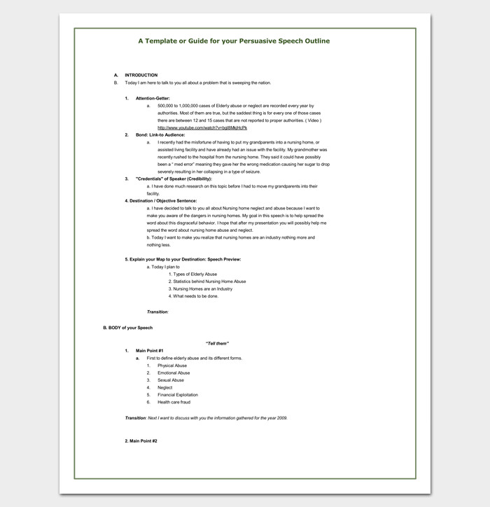 Persuasive Speech Outline Templates Persuasive Speech Outline Template 15 Examples Samples