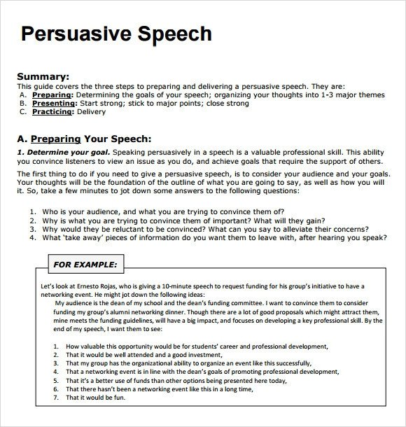 Persuasive Speech Outline Templates Sample Persuasive Speech 7 Documents In Pdf
