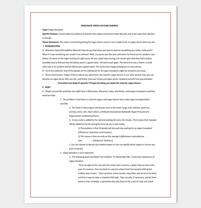 Persuasive Speech Outline Templates Speech Outline Template 38 Samples Examples and formats