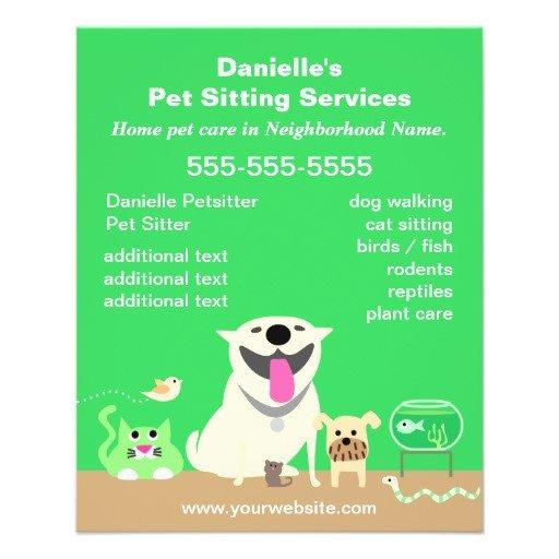 Pet Sitting Flyer Template Green Pet Sitter Promotional Flyer