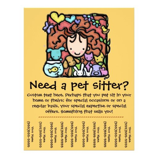 Pet Sitting Flyer Template Pet Sitter Promotional Tear Sheet Flyer