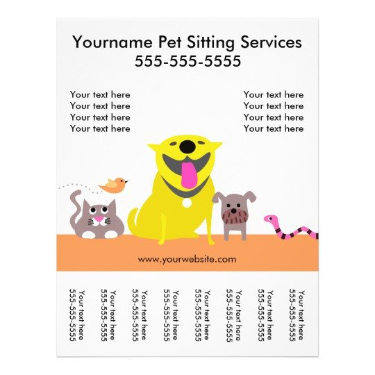 Pet Sitting Flyer Template Pet Sitter S Flyer with Tags Dog Cat Bird Snake