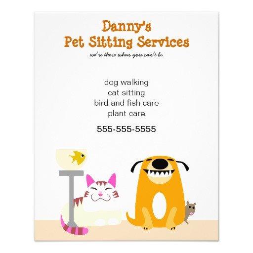 "Pet Sitting Flyer Template Pet Sitter S Promotional 4 5"" X 5 6"" Flyer"