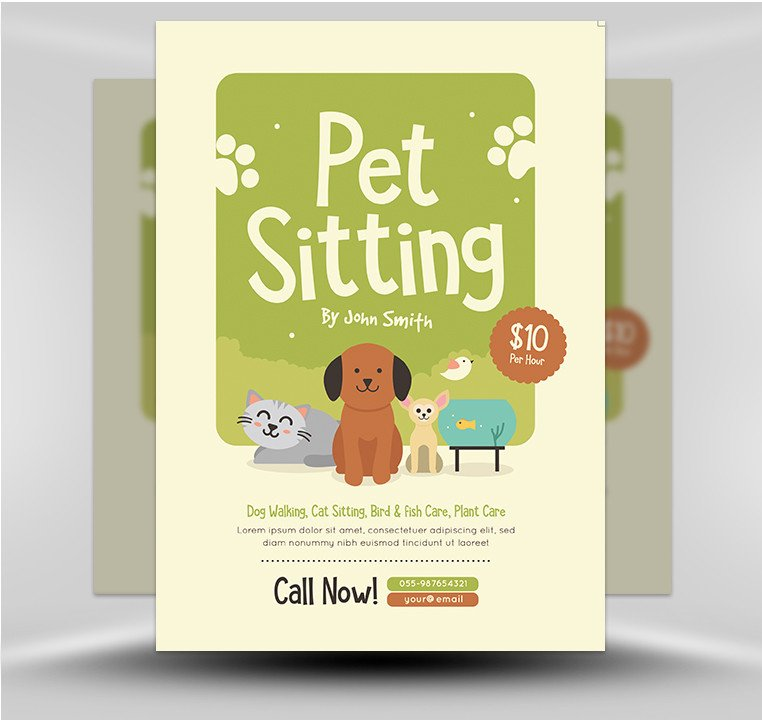 Pet Sitting Flyer Template Pet Sitting Flyer V2 Flyerheroes