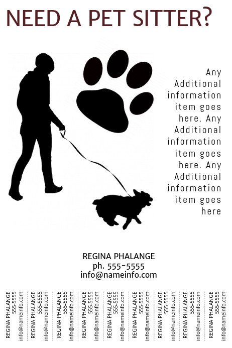 Pet Sitting Flyer Template Printable Pet Sitter Flyer Template with Tear Off Tabs