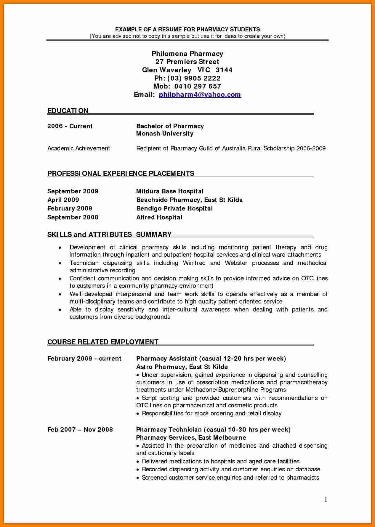 Pharmacist Curriculum Vitae Template 5 Cv Pharmacist Example