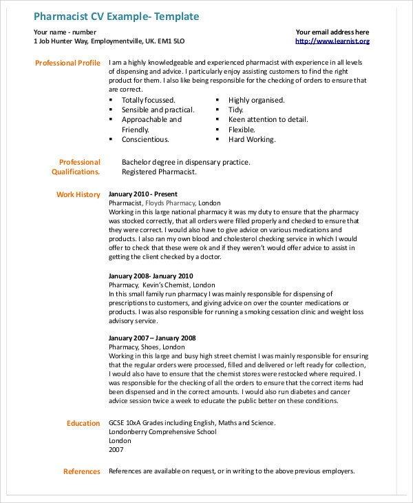 Pharmacist Curriculum Vitae Template 9 Pharmacist Curriculum Vitae Templates Pdf Doc
