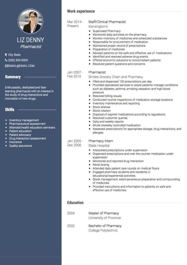 Pharmacist Curriculum Vitae Template Pharmacist Cv Examples & Templates