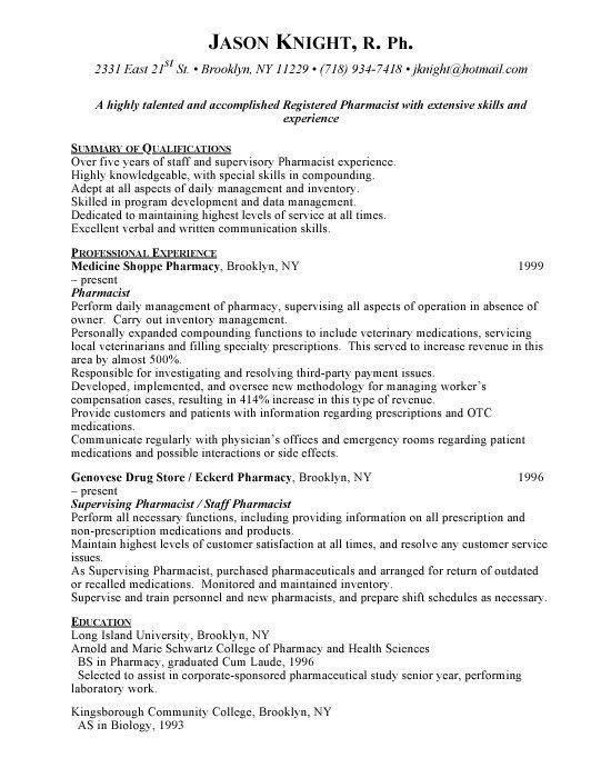 Pharmacist Curriculum Vitae Template Pharmacist