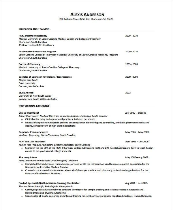 Pharmacist Curriculum Vitae Template Pharmacist Resume Template 6 Free Word Pdf Document