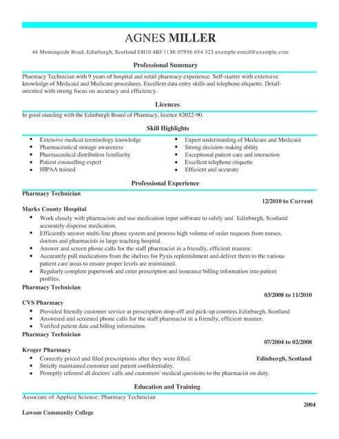 Pharmacist Curriculum Vitae Template Pharmacy Technician Cv Template