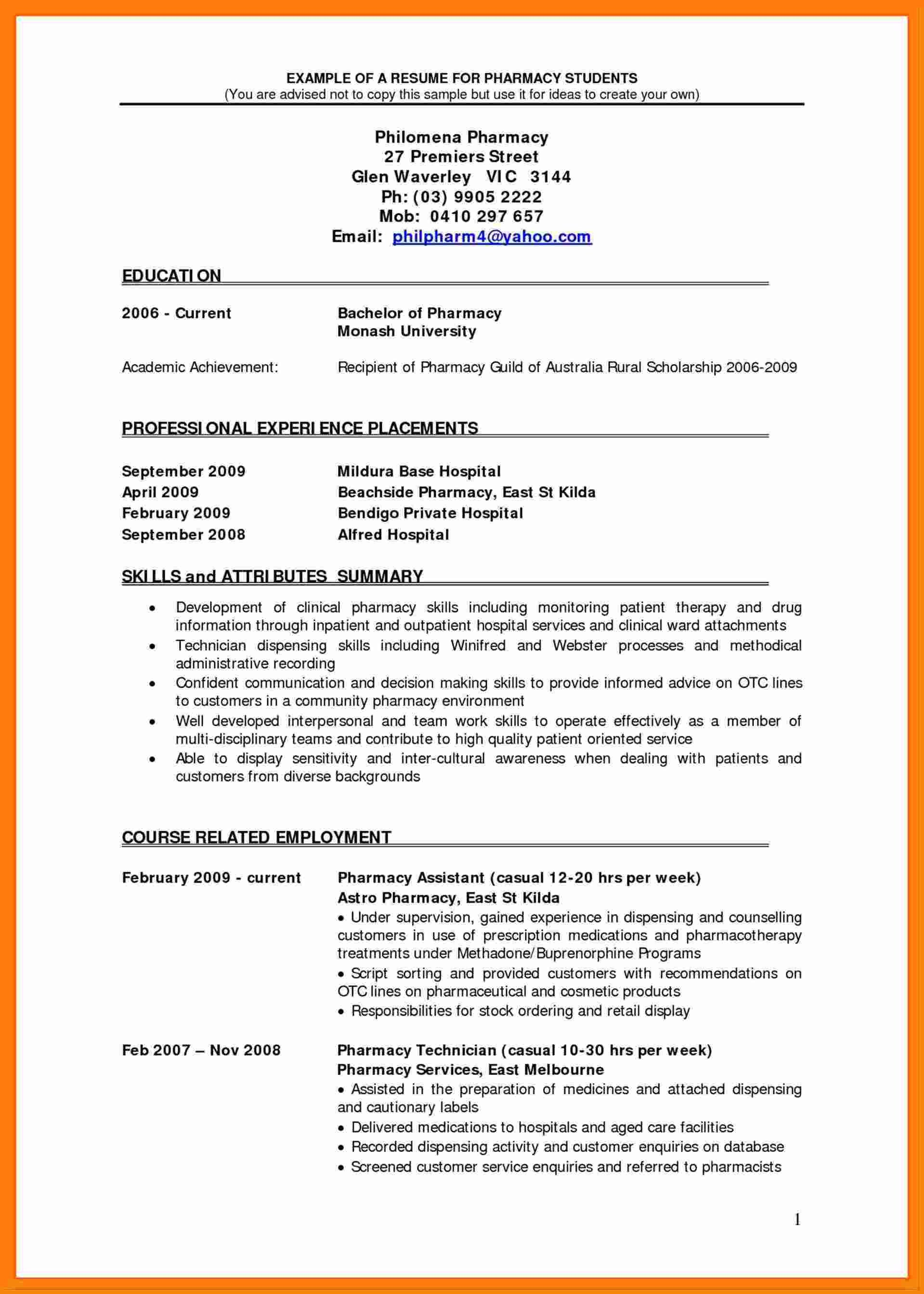 Pharmacy Curriculum Vitae Examples 6 Cv Pharmacy Student